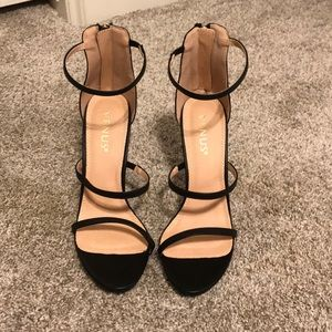 Black Three-strap Heels